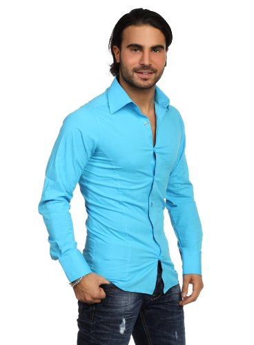 Redbridge Classic Chemise de travail Col chemise Manches longues Homme Turquoise - Turquoise