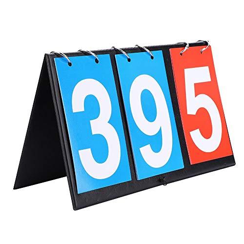 SolUptanisu Tisch Top Tragbare Anzeigetafel 2/3/4-stellige Sport Anzeigetafel Score Flipper Wettbewerbs Anzeigetafeln für Tischtennis Fußball Volleyball Basketball(3-stellig)