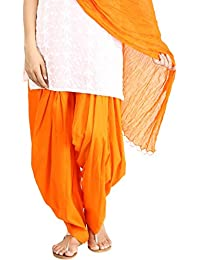 Funfabrics Women Cotton Solid Full Free Size Orange Plain Patiala Salwar Dupatta Set Cotton Patiala Dupatta