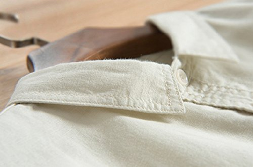 Icegrey Camicia Uomo Camicie Di Lino a Maniche Lunghe Camicie Da Spiaggia Giallo