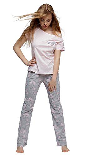 Rosa Baumwoll-shorty-pyjama (SENSIS sensationeller Baumwoll-Pyjama Schlafanzug Hausanzug aus zartem Oberteil und langer karierter Hose, made in EU (M (38), grau/rosa))