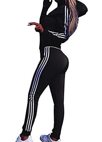 Moceal Mode Streifen Trainingsanzug Frauen Lange Ärmel Zipper Top + Lange Hose Sportswear 2 Stück Set Sport Yoga Outfit, Schwarz, M