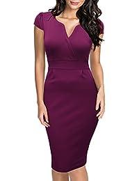 Miusol Damen V-Ausschnitt Abendkleid Kurzarm Business Etuikleid Knielang Festliches Kleid Lila,Blau Gr.S-3XL
