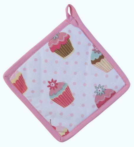 Homescapes Topflappen Cup Cakes, rosa weiß ca. 20 x 20 cm, Untersetzer aus 100% reiner Baumwolle mit Polyesterfüllung, waschbarer Topfuntersetzer