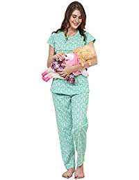 ZEYO Women Feeding Night Suit | Nursing Night Dress with Pastel Green & Peach Floral Print Top | Pure Cotton Breastfeeding Night wear| Baby Feeding Top and Pyjama Set with Half Sleeve