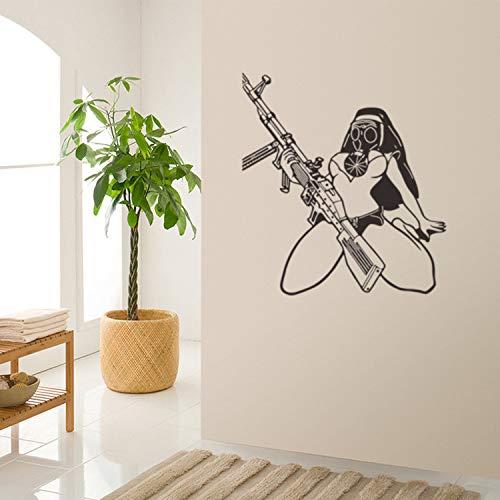 JXND Kreative weibliche Krieger Wandaufkleber Wohnzimmer TV Hintergrund Wandaufkleber 57 * 62cm