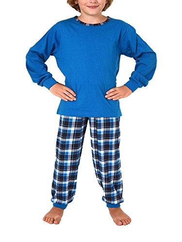Normann Copenhagen Jungen Pyjama mit Karierter Jersey Hose und Bündchen - 271 501 90 415, Farbe:blau, Größe:152