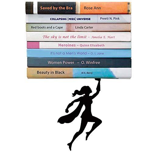 Artori Design | 'Wondershelf'| Estante metálico flotante de superheroína en color negro | Estante para libros original | Regalo para geeks | Regalo ideal para lectores | Apilador de libros original | Regalo ideal para mujeres heroínas | Regalo ideal para el día de la madre