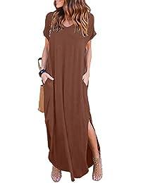 f74c9ed619 Vestido de Mujer Verano Flojo Casual Largo Liso Tunica Manga Larga y Corta  Imperio Otoño e Invierno Retro Vestidos Asimetricos Holgado Cóctel…