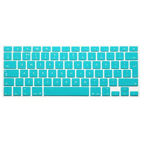 AUSMIX EU/UK Silikon-Tastaturschutz, staubdicht, waschbar, Skin Gel Tastaturschutz für alte MacBook Pro 13 Zoll / 15 Zoll / 17 Zoll/Air 13 Zoll und iMac Wireless Tastatur, Ombre Grau Pure Green