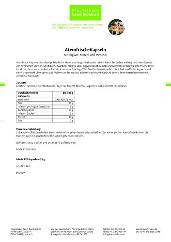 Sanct Bernhard Atemfrisch Deo-Kapseln mit Pfefferminzöl, Menthol & Chlorophyll – 170 Kapseln - 2