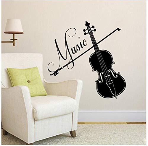 Ccfqiangtie Violine Vinyl Wandtattoos Interior Home Decor Wohnzimmer Abnehmbare Musical Wandaufkleber Für Aufnahmestudio Schlafzimmer
