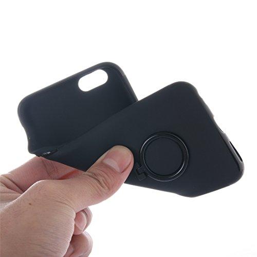IPhone 7 Fall Ultra dünner weicher TPU schützender rückseitiger Abdeckungs-Fall mit Ring-Halter-Standplatz für iPhone 7 Fall by diebelleu ( Color : White ) Black