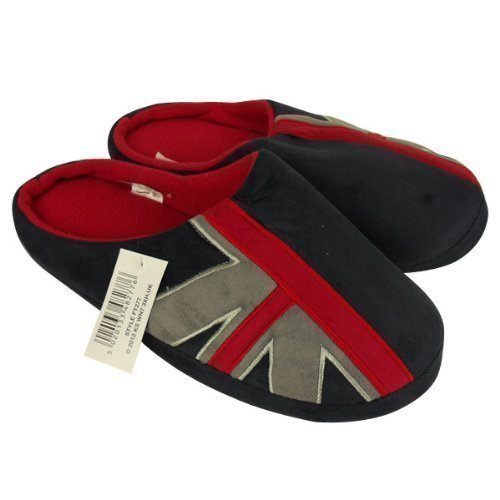 Da uomo Union Jack Slipper Classic Novelty Mule Mules Pantofole, rosso (Navy / grey / red), 41.5
