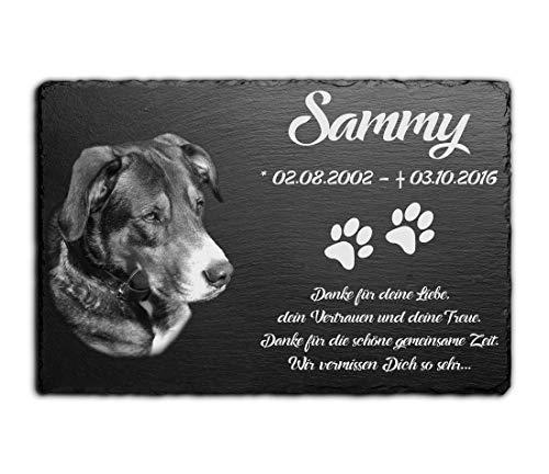 Tier-Grabstein Gedenkstein aus Schiefer Grabplatte mit Gravur Fotogravur 30x20 cm Gedenktafel für Haustiere Hunde | Hund, Katze & Co. personalisiert mit über 40 Motiven und Wunschgravur
