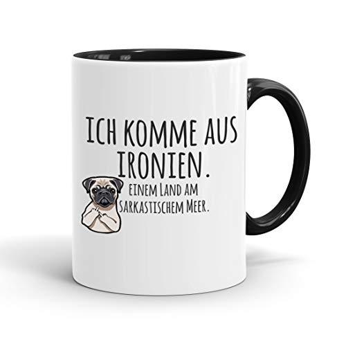 True Statements Lustige Tasse ich komme aus ironien einem land am sarkastischem meer - Kaffee-Tasse mit Spruch - Geschenk für Mitarbeiter - Chef - Büro - Arbeit, inner black