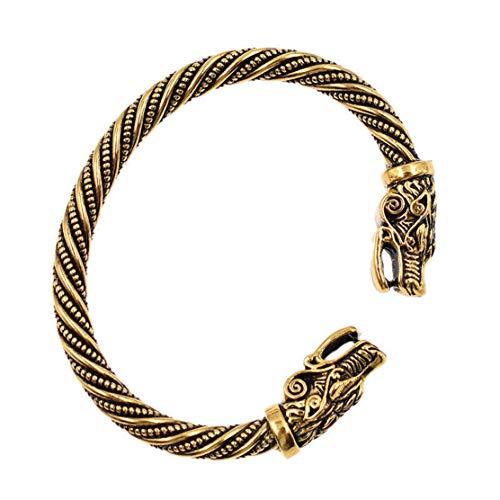 YSINFOD Bracelet Tête De Dragon Ouvert Manchette Torsadée Bracelet Élastique Réglable Bracelet Hommes Bracelet Party Pub Bracelet Bijoux Cadeau, Or Antique