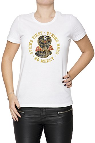 41TbxVdclCL - Camiseta de mujer blanca Strike First, Strike Hard, No Mercy