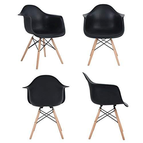 Esszimmerstuhl, Retro Stuhl Beistelltisch mit solide Buchenholz Bein (4er, Schwarz)