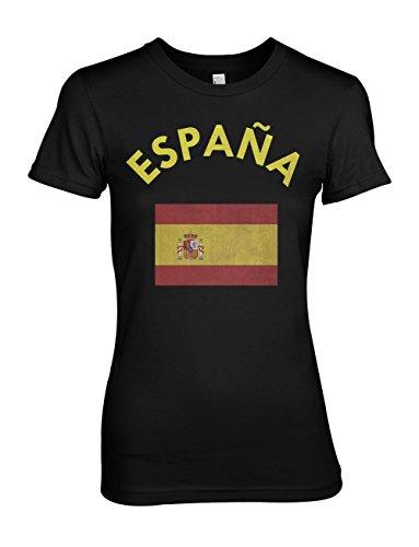 Espana Spain Spanish Flag Damen T-Shirt Schwarz