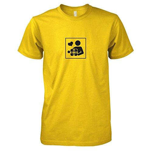 Kostüm Companion Cube - TEXLAB - Cube Love - Herren T-Shirt, Größe XL, gelb