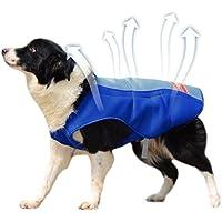 Petacc Chaleco de Refrigeración para Mascotas al Aire Libre Perro Enfriador Arnés Transpirable Capa de Refrigeración para Mascotas a Prueba de Sol Chaqueta para Perros, Adecuado para Perros Medianos y Grandes, Azul, L