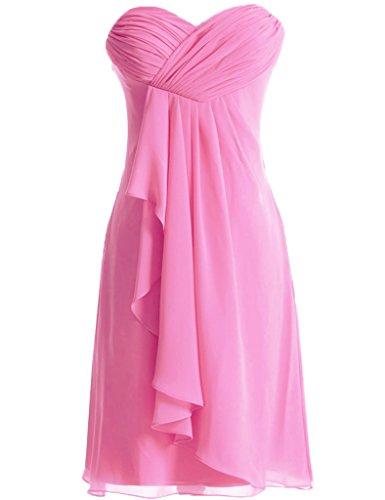 Huini Sweetheart Short chiffon damigella d' onore abiti Homecoming Prom Pink
