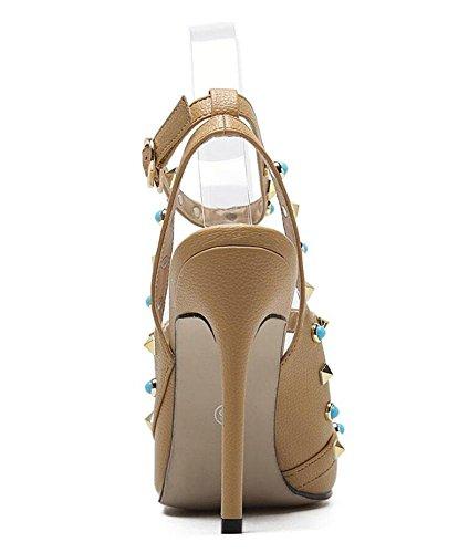 GLTER Le donne Peep Toe Ankle Strap Sandals pompe tacco a cono di Charme a punta della bocca poco profonda Rivetti gemma di colore Buckle Tacchi alti signore scarpe estive Pompe scarpette Albicocca Ro apricot