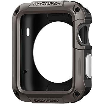 Spigen Schutzhülle für Apple Watch 42mm Hülle TOUGH ARMOR [Kompletter Schutz] - Tasche [High Technologie] - dunkelgrau [Gunmetal - SGP11504]