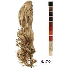 Prettyland - DH254 pelo largo Extensión de cabello, Peluca Cola de Caballo ondulada con clips