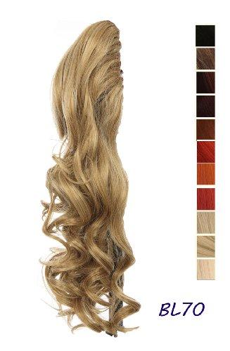 Prettyland - DH254 60cm Klammer gewellt Pferdeschwanz Zopf Haarverlängerung Haarteil- BL70 beige blond