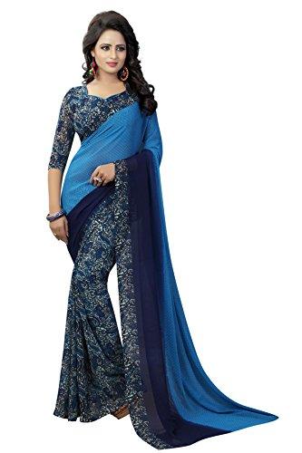 J B Fashion Women's Georgette blue Saree With Blouse Piece