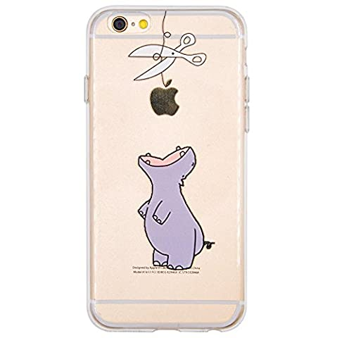 Coque iPhone 6, iPhone 6S, OFFLY Transparente Souple Silicone TPU étui d' Protection, Cute et Motif Fantaisie pour Apple iPhone 6 / 6S - Hippopotame