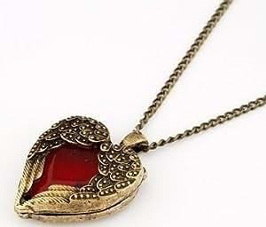 Vintage Ketten Halskette Schmuck Kette mit rotem Herz- Edelstein Engelsflügel Anhänger