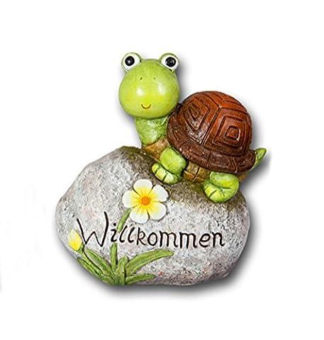 Schildkröte auf Stein Gartendeko Deko Garten Tier Figur Artikel Skulptur