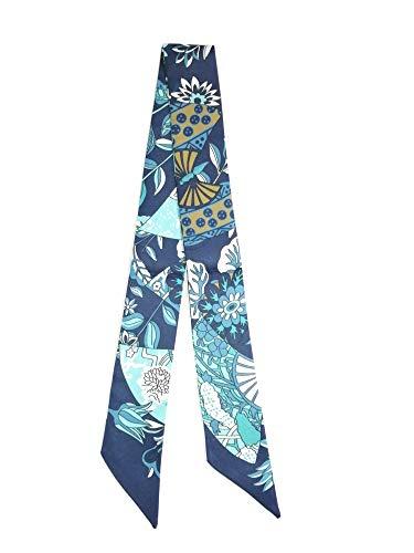 Petite Copine Foulard-ruban (Twilly) en en polyester effet soie motif : éventails (Bleu)