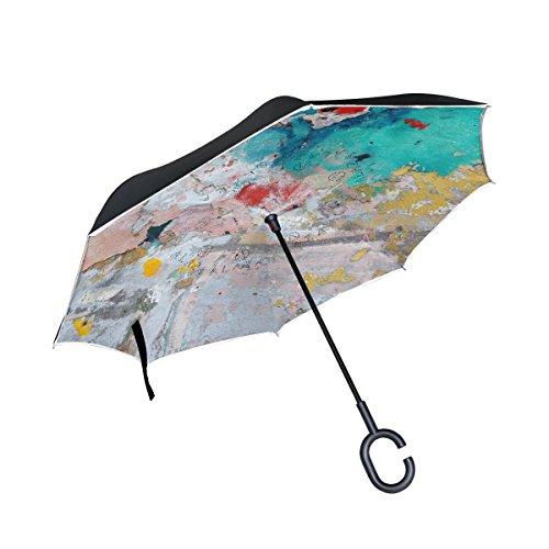 BENNIGIRY Grunge Vintage Weltkarte, doppellagig, seitenverkehrt, groß, umgekehrt faltbarer Regenschirm, winddicht, UV-Schutz, Regenschirm mit C-förmigem Griff, für - C-map