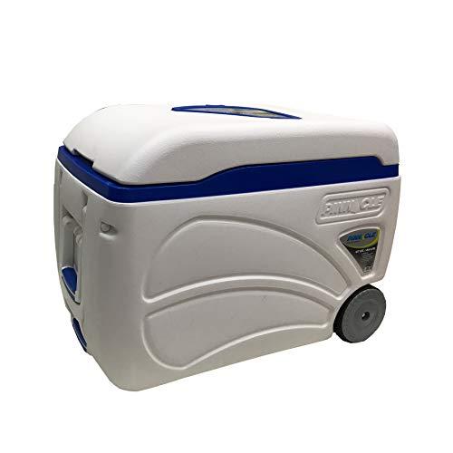 Pinnacle - borsa frigo portatile, 45 litri, con ruote, per campeggio, sport, colore: nero/blu, 59 x 37,5 x 43 cm