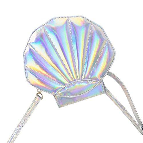 Honeymall Borse da Donna Borse a Spalla Remeehi Womens Ologramma in pelle perla borsa a tracolla Borsetta Dentellare Argento