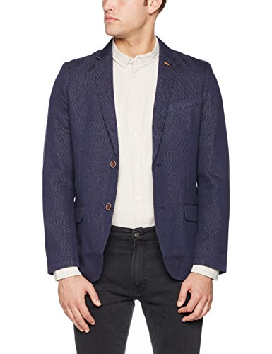 TOM TAILOR Herren Anzugjacke Fancy Structure Blazer Blau (True Dark Blue 6811)