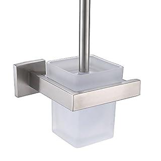 Weare Home Badezimmer Zubehör Wandmontag Bohren 304 Edelstahl Gebürstet Silbern Toilettenbürstenhalter mit Glas Quadratisch Toilettenbürstenbecher Modern Einfach Design Stil