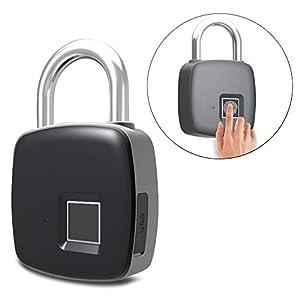 Serrure d'empreinte digitale, 1 seconde déverrouillage cadenas biométrique portable intelligent, sécurité sans mot de passe, cadenas étanche et antivol pour sac de golf, valise, casier de gym, placard