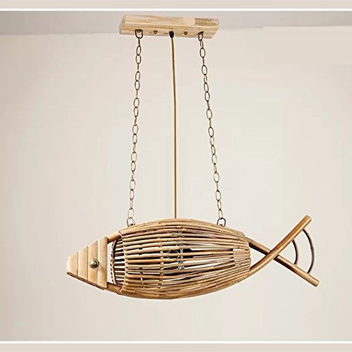 YYHSND Chinesische Retro Bambus Fisch kronleuchter gewebt Restaurant Garten Schlafzimmer Lampe südost Lampe Bambus Lampe 75x23 cm Bastelt Schmuck