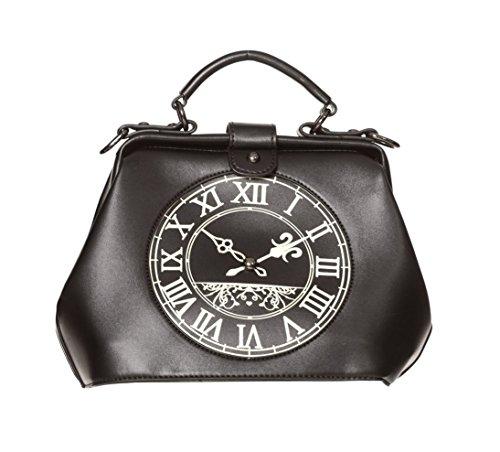 Gebohrte Dara Alternative Uhr Handtasche - Schwarz, Rot oder - Black / One Size (Vintage Handtaschen Inspiriert)
