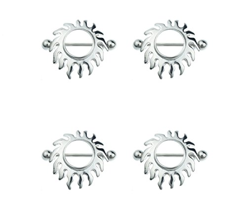 BODYA 4pc Nippel Schild Ringe Bars Rising Sunburst Feuer Design K?rper Piercing Schmuck Paar 14g Gauge Verkauft als Paare (Steigende Bar Damen)