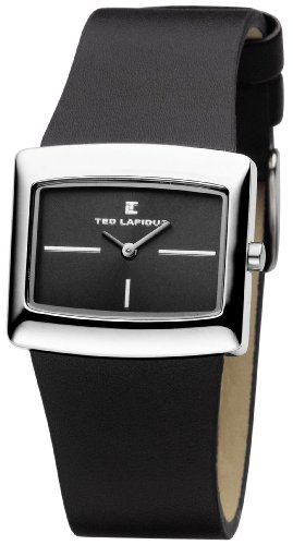 Ted Lapidus D0444RNIN - Reloj analógico de mujer de cuarzo con correa de plástico negra