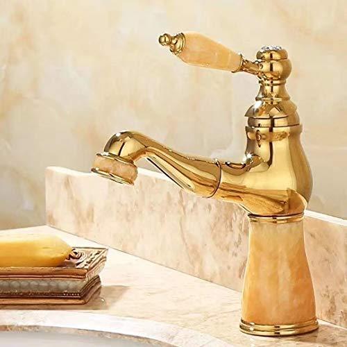 Wasserhahn Einhebel-Waschtischmischer Tap Tap auf kaltem Wasser Ballon Shampoo Green Jade Marmortisch Becken Vollkupfer Gold Waschtischarmaturen Gold Green Jade