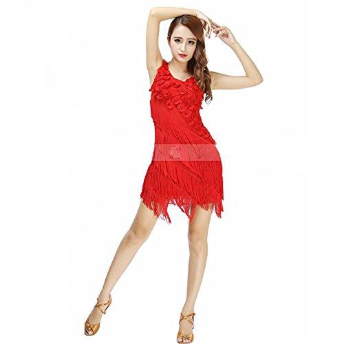(Pailletten Bauchtanz Kostüm Für Frauen Quasten Bauchtanz Outfit Rot Schwarz Quasten Latin Dance Kleid Rock Kostüm Body Pailletten Kurzen Rock Performance Kostüm Blau Beige,Red)