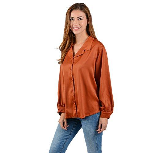 Chicolife Frauen - Dame - stilvoller beiläufiges Büro Freund Loose Fit Bluse Tunika Langer Bischof Laterne Hülsen - Weinlese - Spitze T Shirt XL orange (Langer Rock Seide Bluse)
