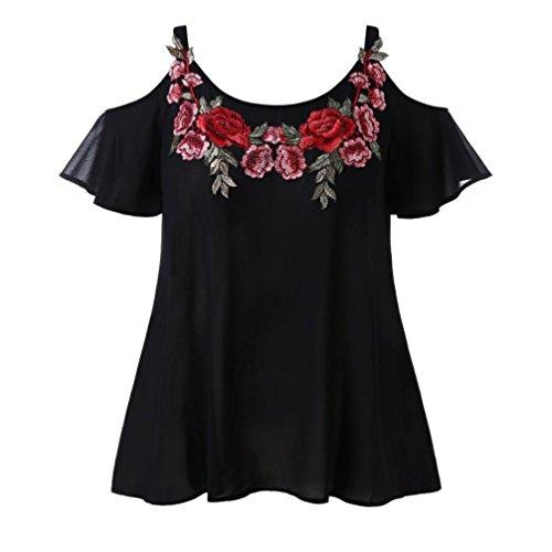 Kobay Damen Gurt Chiffon Beiläufig Kalte Schulter Gestickte Applique T-Shirt Bluse Tops(XX-Large,Schwarz) (Bruder Applique)